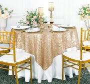 "72""x 72"" Square Sequin Table Overlay - Champagne 01828 (1pc/pk)"