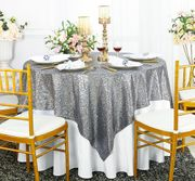 "72""x 72"" Square Sequin Table Overlay - Silver 01840 (1pc/pk)"