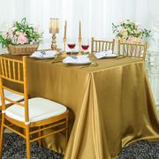 "72"" x 120"" Rectangular Satin Tablecloth - Antique Gold 55229(1pc/pk)"