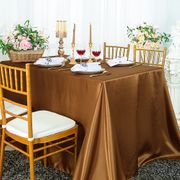 "72"" x 120"" Rectangular Satin Tablecloth - Copper 55241(1pc/pk)"