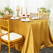 "72"" x 120"" Rectangular Satin Tablecloth - Gold 55227(1pc/pk)"