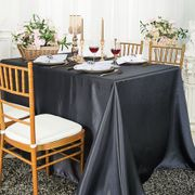 "72"" x 120"" Rectangular Satin Tablecloth - Pewter / Charcoal 55260(1pc/pk)"
