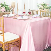 "72"" x 120"" Rectangular Satin Tablecloth -  Pink 55205(1pc/pk)"