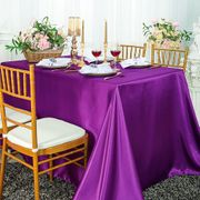 "72"" x 120"" Rectangular Satin Tablecloth - Purple 55243(1pc/pk)"