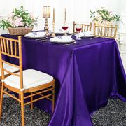 "72"" x 120"" Rectangular Satin Tablecloth - Regency Purple 55263(1pc/pk)"