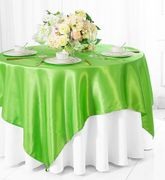 "72"" Square Satin Table Overlays - Apple Green 51137(1pc/pk)"