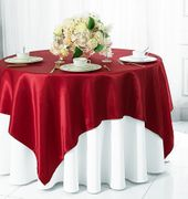 "72"" Square Satin Table Overlays - Apple Red 51108(1pc/pk)"