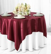 "72"" Square Satin Table Overlays - Burgundy 51110(1pc/pk)"