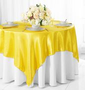 "72"" Square Satin Table Overlays - Canary Yellow 51116(1pc/pk)"
