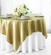 "72"" Square Satin Table Overlays - Cappuccino 51146(1pc/pk)"
