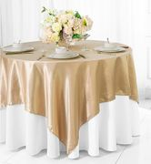 "72"" Square Satin Table Overlays - Champagne 51128(1pc/pk)"