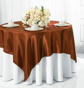 "72"" Square Satin Table Overlays - Cognac 51157(1pc/pk)"