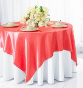 "72"" Square Satin Table Overlays - Coral 51106(1pc/pk)"