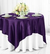 "72"" Square Satin Table Overlays - Eggplant 51145(1pc/pk)"