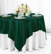 "72"" Square Satin Table Overlays - Holly Green / Hunter Green 51119(1pc/pk)"