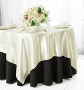 "72"" Square Satin Table Overlays - Ivory 51102(1pc/pk)"