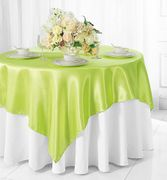 "72"" Square Satin Table Overlays - Key Lime 51149(1pc/pk)"