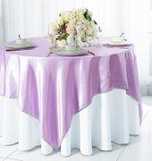 "72"" Square Satin Table Overlays - Lavender 51111(1pc/pk)"