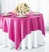 "72"" Square Satin Table Overlays - Magenta / Azalea 51136(1pc/pk)"
