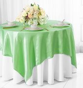 "72"" Square Satin Table Overlays - Mint Green 51134(1pc/pk)"