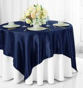 "72"" Square Satin Table Overlays - Navy Blue 51123(1pc/pk)"