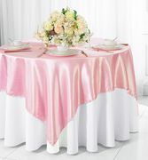 "72"" Square Satin Table Overlays - Pink 51105(1pc/pk)"
