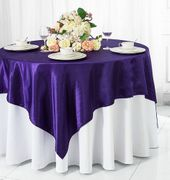 "72"" Square Satin Table Overlays - Regency Purple 51163(1pc/pk)"