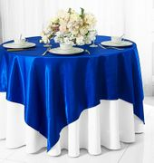 "72"" Square Satin Table Overlays - Royal Blue 51122(1pc/pk)"