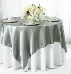 """72"""" Square Satin Table Overlays - Silver 51140 (1pc/pk)"""