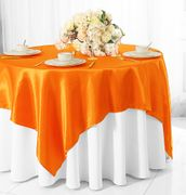 "72"" Square Satin Table Overlays - Tangerine 51151(1pc/pk)"