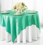 "72"" Square Satin Table Overlays - Tiff Blue / Aqua Blue 51118(1pc/pk)"