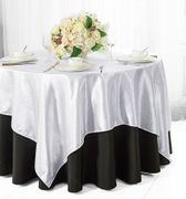 "72"" Square Satin Table Overlays - White 51101(1pc/pk)"