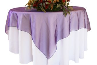 72x72 Seamless Square Organza Table Overlays / Tablecloths (41 colors)