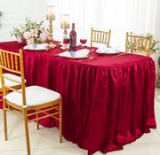 8' Rectangular Ruffled Fitted Crushed Taffeta Tablecloth With Skirt - Apple Red 63508 (1pc/pk)