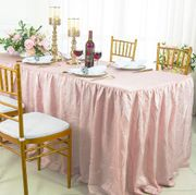 8' Rectangular Ruffled Fitted Crushed Taffeta Tablecloth With Skirt - Blush Pink 63515 (1pc/pk)