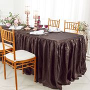 8' Rectangular Ruffled Fitted Crushed Taffeta Tablecloth With Skirt - Chocolate 63591 (1pc/pk)