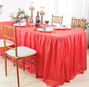 8' Rectangular Ruffled Fitted Crushed Taffeta Tablecloth With Skirt - Coral 63506 (1pc/pk)
