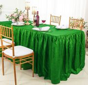 8' Rectangular Ruffled Fitted Crushed Taffeta Tablecloth With Skirt - Emerald Green 63538 (1pc/pk)