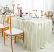 8' Rectangular Ruffled Fitted Crushed Taffeta Tablecloth With Skirt - Ivory 63502 (1pc/pk)