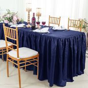8' Rectangular Ruffled Fitted Crushed Taffeta Tablecloth With Skirt - Navy Blue 63523 (1pc/pk)
