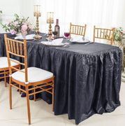 8' Rectangular Ruffled Fitted Crushed Taffeta Tablecloth With Skirt - Pewter / Charcoal  63560 (1pc/pk)