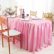 8' Rectangular Ruffled Fitted Crushed Taffeta Tablecloth With Skirt - Pink 63505 (1pc/pk)