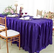 8' Rectangular Ruffled Fitted Crushed Taffeta Tablecloth With Skirt - Regency Purple 63563 (1pc/pk)