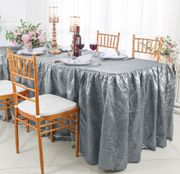 8' Rectangular Ruffled Fitted Crushed Taffeta Tablecloth With Skirt - Silver 63540 (1pc/pk)