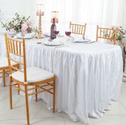 8' Rectangular Ruffled Fitted Crushed Taffeta Tablecloth With Skirt - White 63501 (1pc/pk)