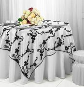 "85"" Seamless Ribbon Taffeta Table Overlays(15 Colors)"