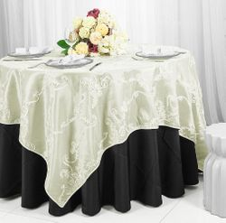 "85"" Seamless Ribbon Taffeta Table Overlay - Ivory 65502(1pc/pk)"