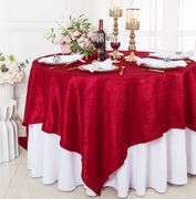 "85"" Square Crushed Taffeta Table Overlay - Apple Red 61508(1pc/pk)"