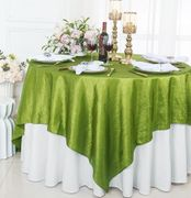 "85"" Square Crushed Taffeta Table Overlay - Moss Green 61517(1pc/pk)"