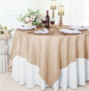 "85"" Square Crushed Taffeta Table Overlay - Champagne 61528(1pc/pk)"